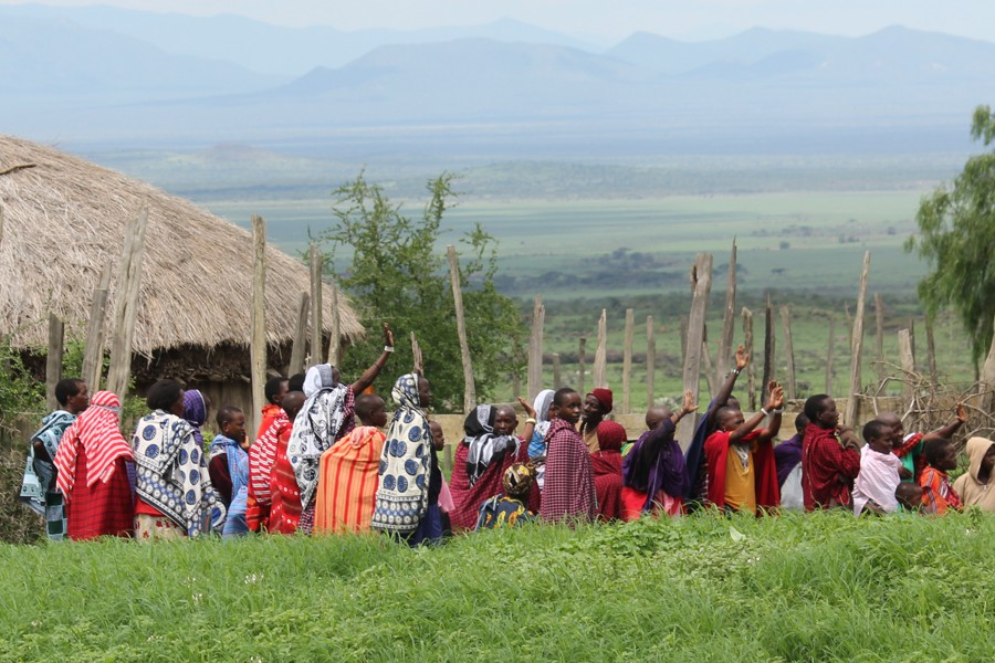 Maasai village church service.